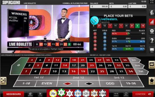 Live Roulette on Channel 5  or online. Their proprietary game